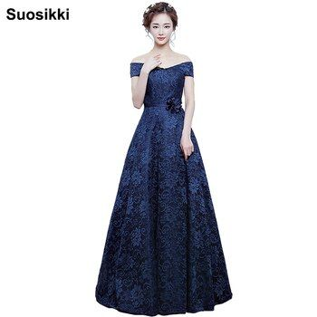 Suosikki  A-line Boat Neck Elegant Lace  Evening Dress Long Prom party Gown 2017 Robe de soiree