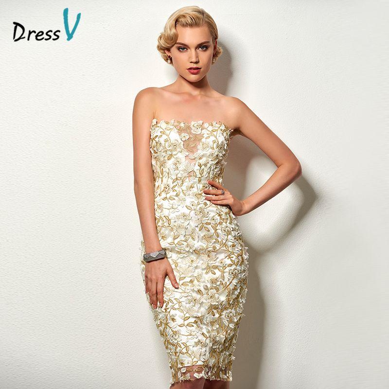 Dressv strapless knee length cocktail dress appliques sleeveless sheath short formal party dress lace cocktail party dress short