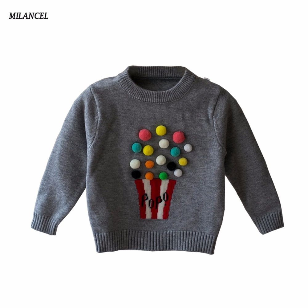 DEAL!!! 2018 Autumn Baby Girls Sweater Kids Knitwear Popcorn Sweaters For Girls Baby Knitted Sweater Girls Pullover Clothes