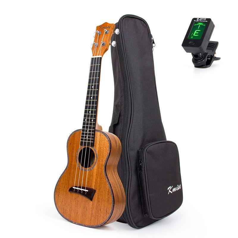 Kmise Concert Ukulele Mahogany 23 inch Ukelele Uke 4 String Hawaii Guitar Aquila String Celluloid Binding with Gig Bag Tuner