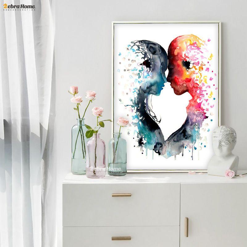 Aquarelle originale Amour Toile Peinture Mur Art Affiche Et Imprime Photos Salon Décor À La Maison Cadeaux De Mariage Amour Couple