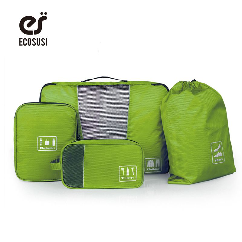 ECOSUSI New Travel Accessories Storage Bag For Clothes Shoes Electronics Toiletry Organizer 4 Pcs/Set Travel Bag Suitcase