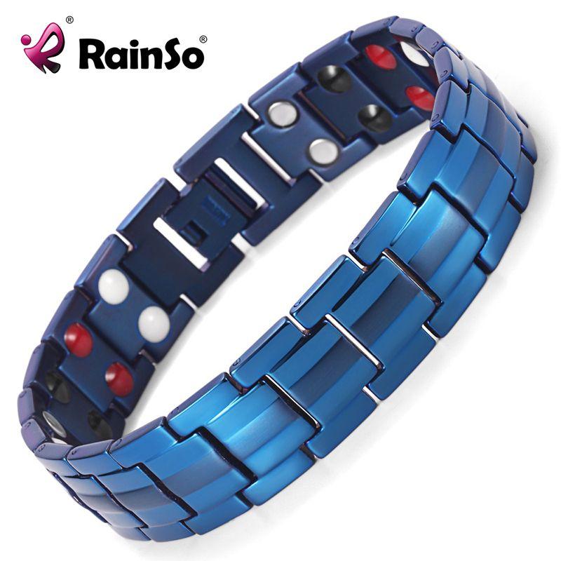 Rainso Germanium Bracelets Negative ions Magnetic Elements Titanium Blue Plated Bracelet Men Accessory Sport Bangles