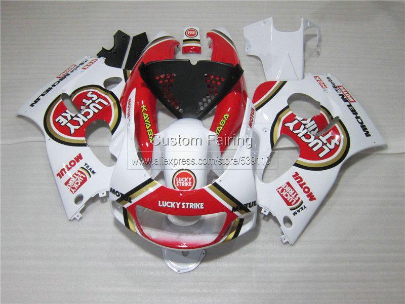 Verkleidung kit für SUZUKI GSXR 600 750 1996 1997 1998 1999 2000 GSX-R600/750 96 97-00 rot LUCKY STRIKE kunststoff-verkleidungen eingestellt ZE34
