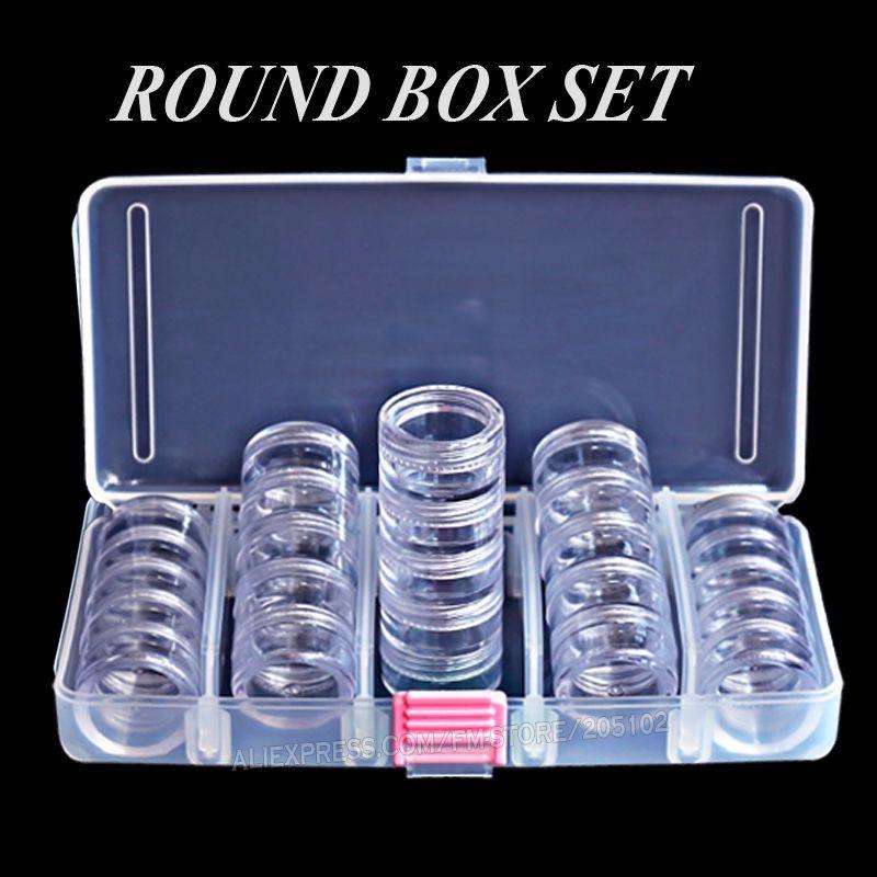 Дизайн ногтей аксессуар круглый Box Set, крошечные Ясно бутылки с винтовой крышкой для DIY Косметика Гвозди бусины ремесел контейнеров случае