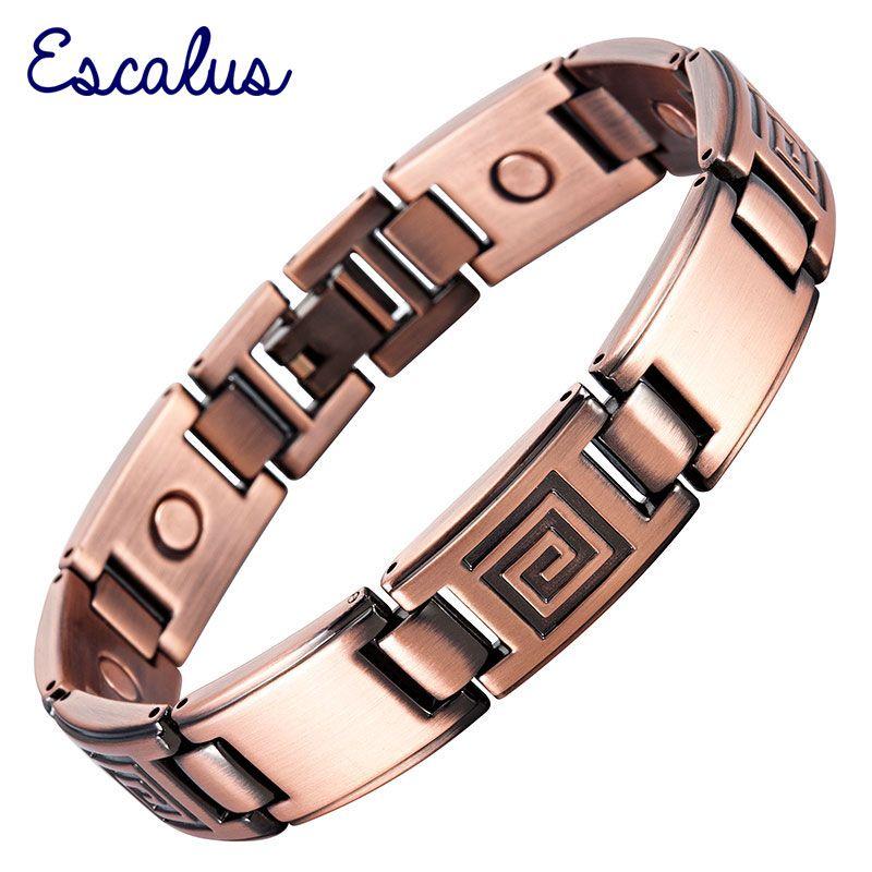 Escalus Magnetic Men Antique Copper Plating Bracelet Wristband Bio Bangle Gift Male Gentlemen Maze Pattern Charm