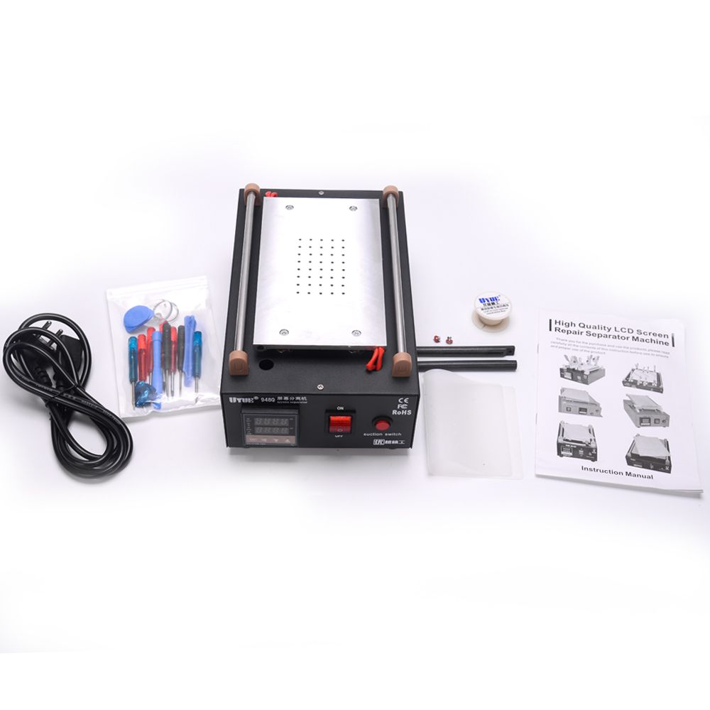 Uyue 948Q Built-in <font><b>Pump</b></font> Vacuum Glass LCD Screen Separator Machine Max 7 inches With 13 pcs Mobile Phone Disassemble Tool