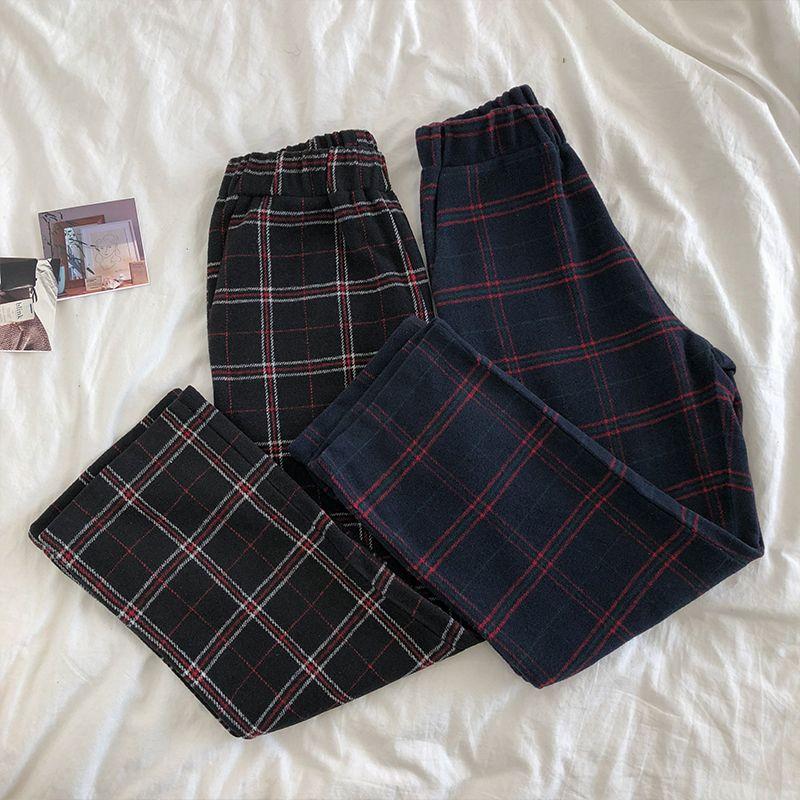 Mooirue Autumn Vintage Pants Women Thickening Elastic High Waist Lattice Plaid Checkerboard Trouse Female Purple Black Long Pant