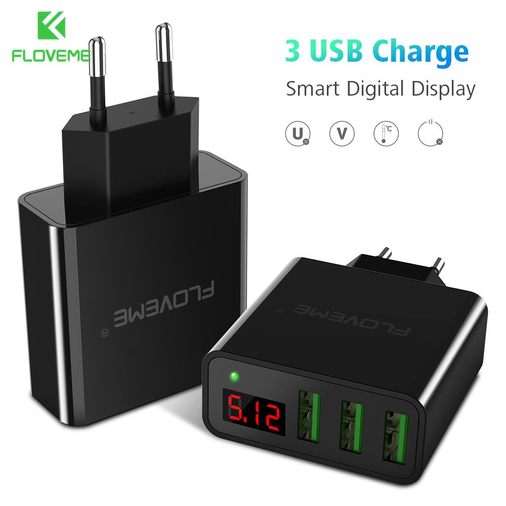 FLOVEME 3 Port USB Phone Charger LED Display EU/US Plug The Max 5V 2.4A Smart Fast Charging Mobile Wall Charger For iPhone iPad