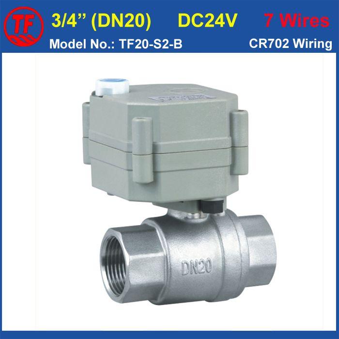 Elektrische Absperrventil TF20-B2-B, DC24V 7 Drähte 2-wege SS304 DN20 BSP/NPT 3/4 ''Full-wege-ventil Betätigte Ventil Mit Handbetätigung