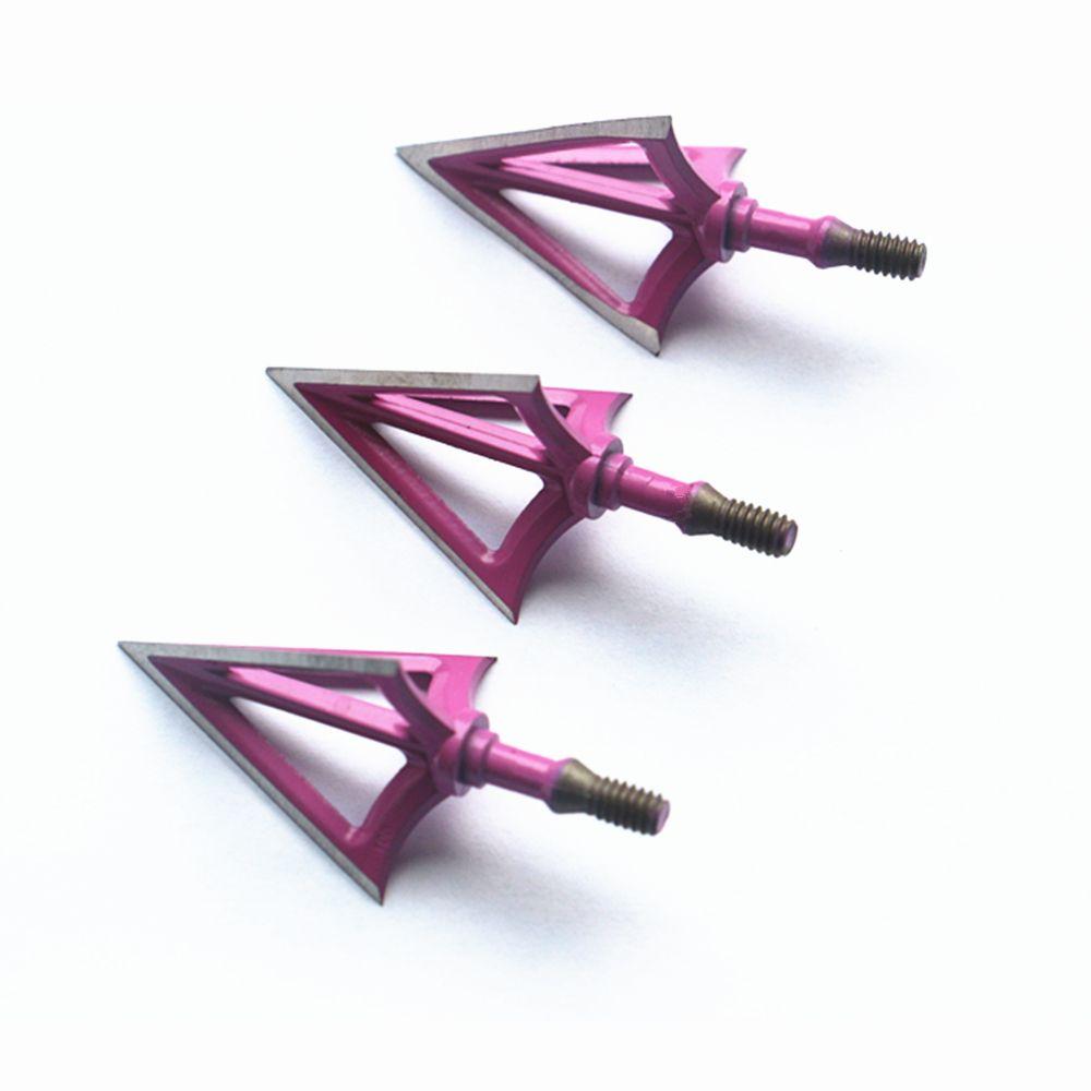 3pcs Broadheads 3 Blade Arrowheads Arrows Screw Tips Hunting 100 Grain Free Shipping