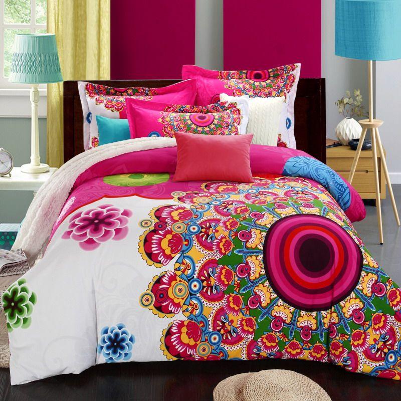 Bohemia duvet cover set winter comforter cover bedsheet Pillowcase 4pc bedding sets queen king size 100% Cotton Bedlinen 3d