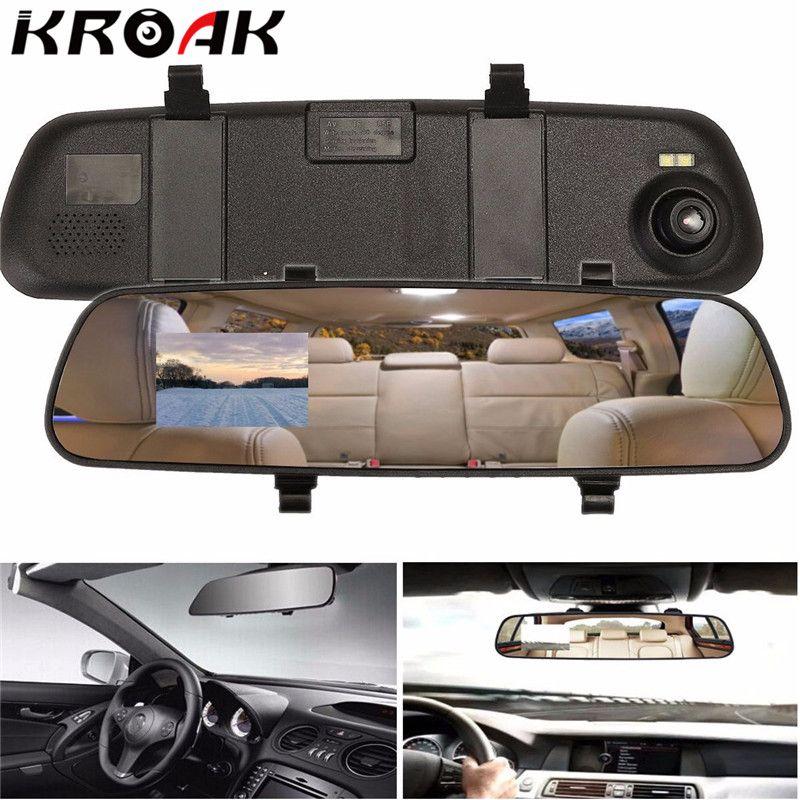 Kroak 2.4 ''720 p HD retrovisor espejo inteligente Cámara Monitores Dashboard CAM dvr