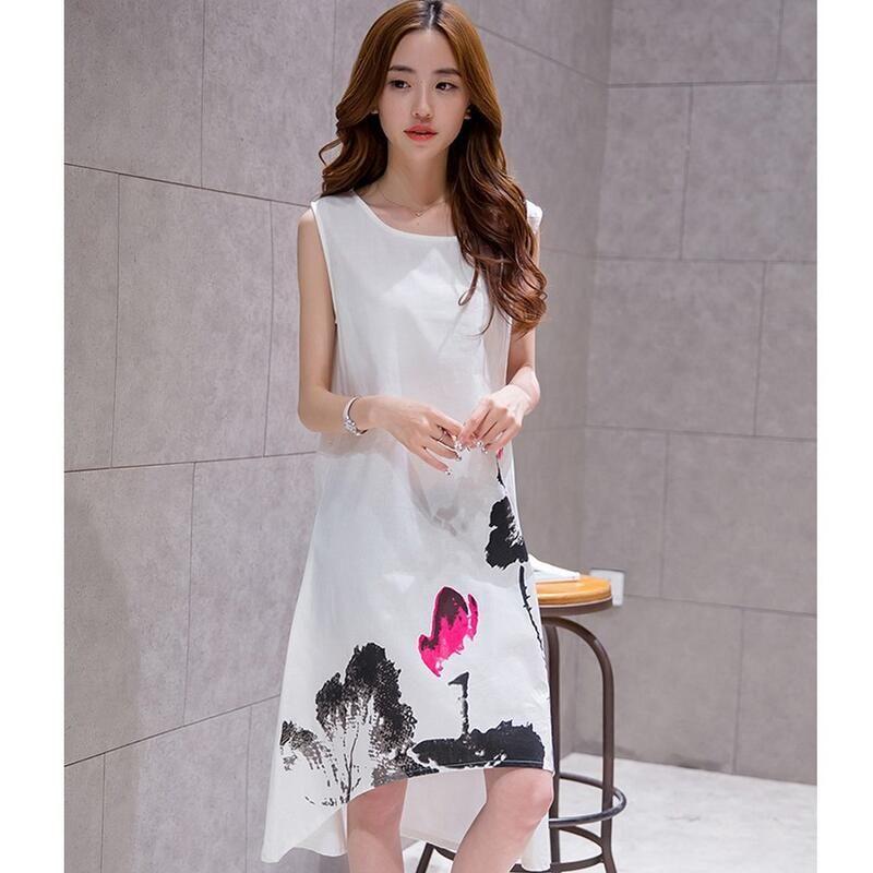 2017 New Spring Summer White Black Ink Print Women Long Dress Retro Short Sleeve Cotton Linen Designs Casual Dresses Slim S 6XL