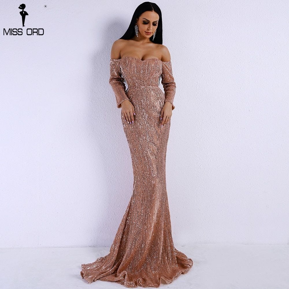 Missord 2018 Sexy BRA Long Sleeve Off Shoulder Sequin Backless Dresses Women Skinny Maxi Party Elegant Dress FT8714-1