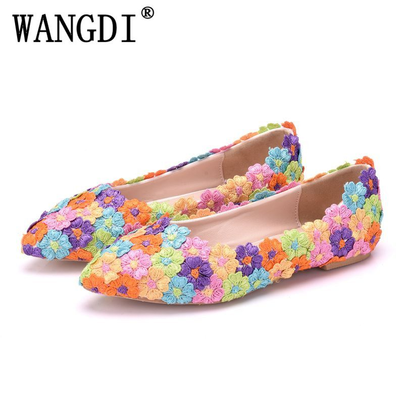 Multicolor Flower Shining Crystal Womens Flat Wedding Shoes Matching Bags Clutches Flats Female Lady Party Shoes