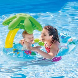 Inflatable Baby Swimming Ring Sunshade Tube Raft Pool Float Toys Safety Seat With Mother Boia Piscina Water Bed Mattress Circle