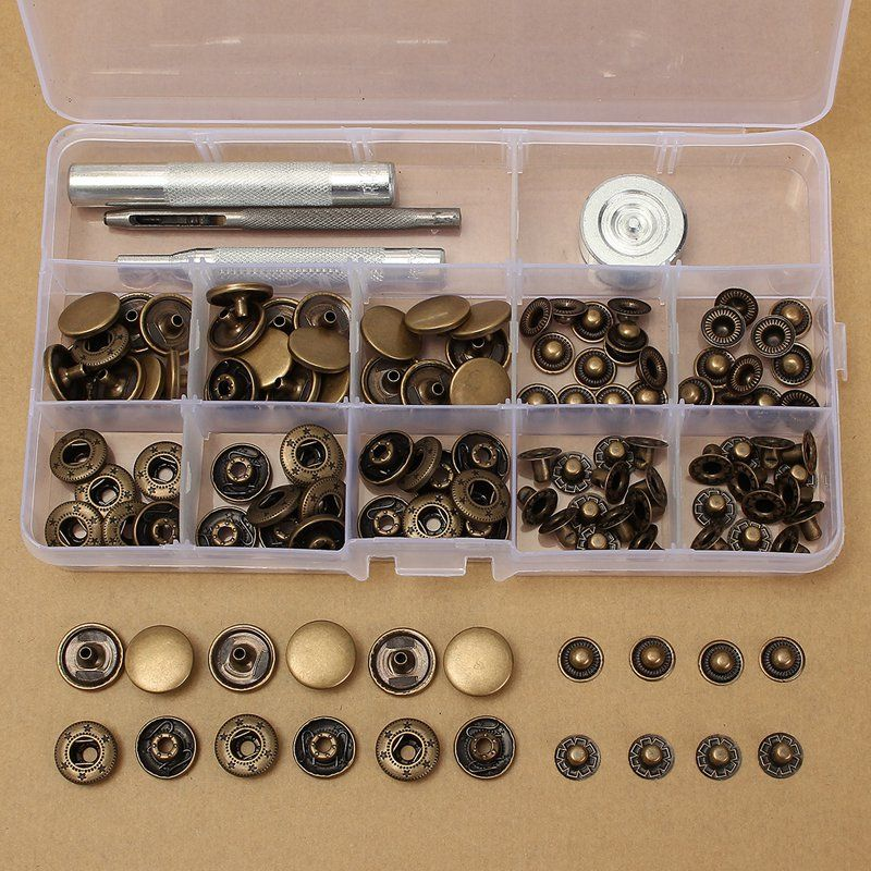 Overvalue 30 Sets 15 mm Antique Brass Snap Fasteners Popper Press Stud Button Leather Tool Kit Material+ Hand Tool Set