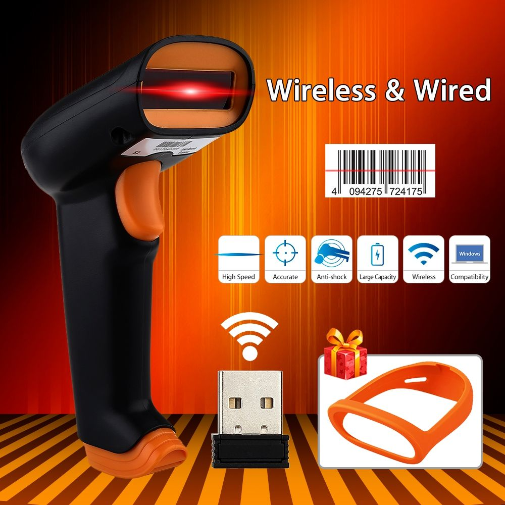 UEEVII S2 Wireless Barcode Scanner 2000mAh Bar Code Reader 2.4G up to 50m Laser Barcode Scanner Wireless Wired For Windows PC