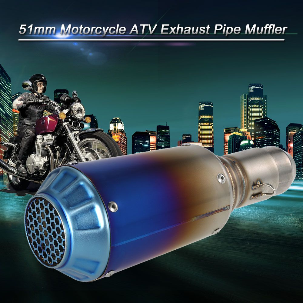 Car-styling Motorcycle exhaust 51mm Refit Muffler Pipe Blueing Stainless Steel Extended Exhaust Muffler Tail Pipe Universal
