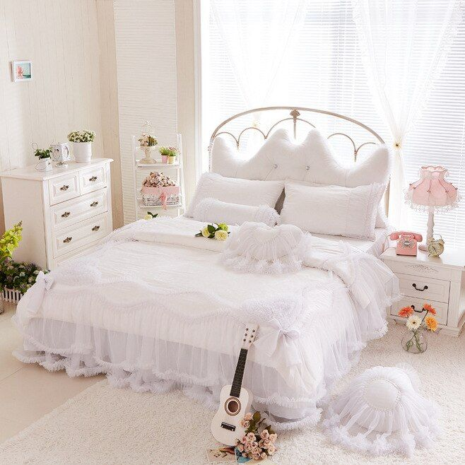Luxury snow white bedding sets queen king 4pcs lace ruffle bedspread Princess comforter/duvet cover bed skirt bedclothes cotton
