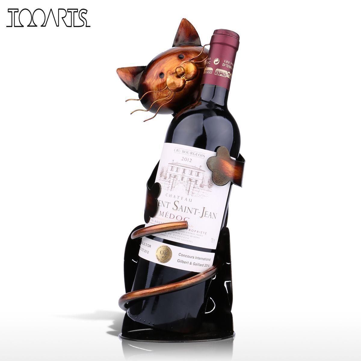 Tooarts Новый год cat держатель вина полка из металла Скульптура практические Скульптура вина Стенд украшение дома интерьер ремесла