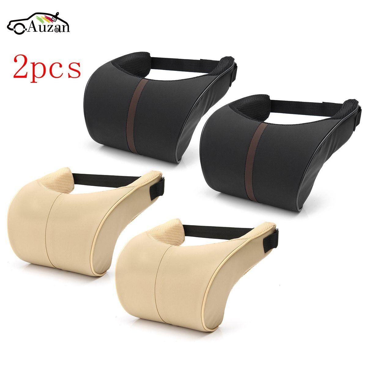 2x Car Seat Neck Pillow PU Leather Ergonomic Seat Headrest Pad Auto Car Neck Rest Memory Foam Pillows