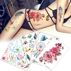 Flower Bird Decal 1pc Fake Women Men DIY Henna Body Art Tattoo Design HB556 Butterfly Tree Branch Vivid Temporary Tattoo Sticker