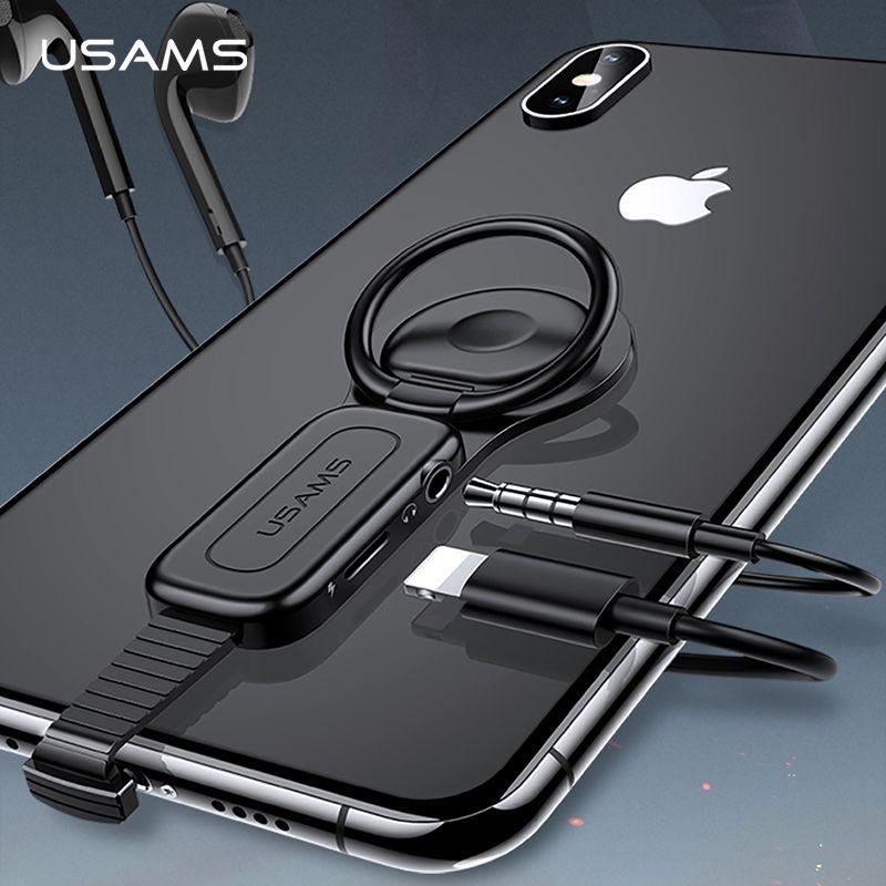 USAMS Éclairage à 3.5mm Adaptateur Audio porte-anneau Adaptateur Chargeur adaptateur de charge Rapide connecteur OTG pour iPhone XS X 8 7 Plus