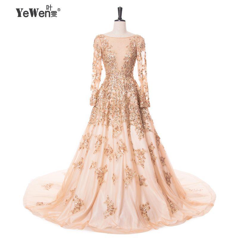 Oro con marfil Vestidos de noche cristal 2018 largo mangas vestidos de baile largo fomal vestido de Soiree vestido longo de festa