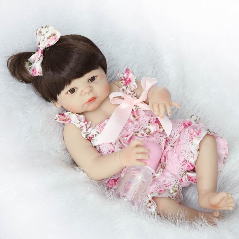 22 ''alive reborn bonecas bebe hecha a mano Realista Renacida Bebé Muñeca Niñas regalo del niño de Cuerpo Completo de Vinilo de Silicona con Chupete