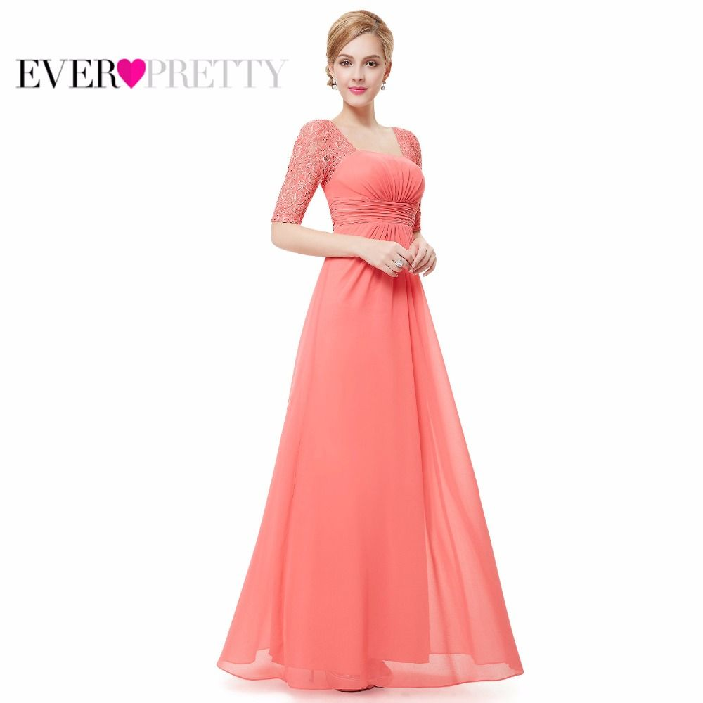 Long Prom Evening Dresses 2018 Ever Pretty EP08038 Sexy Fashion White Red Lace Square Neckline Hot Selling New Arrival Party