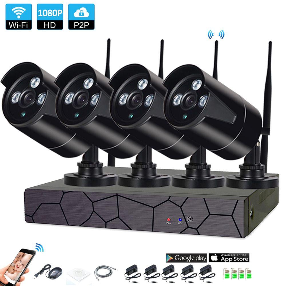 4CH 1080 P HD Wireless NVR Kit P2P 1080 P Indoor Outdoor IR Nachtsicht Sicherheit 2.0MP IP Kamera WIFI CCTV System