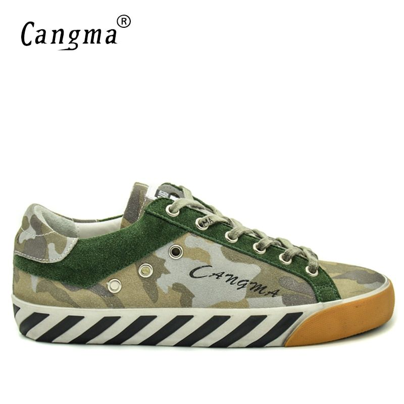 CANGMA Brand Sneakers Breathable Camouflage Mens Shoes Cow Suede Leather Handmade Shoes Green Footwear Male Leisure Autumn Flats