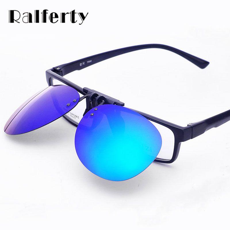 Ralferty Mirror Pilot Polarized Sunglasses Men Night Vision Lens Polaroid Sun Glasses Flip Up Clip On Sunglass Outdoor Goggles
