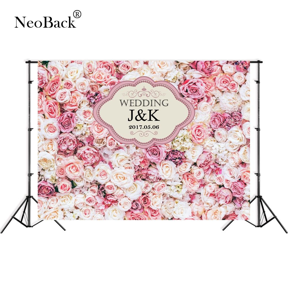 Vinyl Pink Floral Wall Wedding Banner Ceremony Photo Background Birthday Party Welcome Board Studio Photo Backdrops Custom Words
