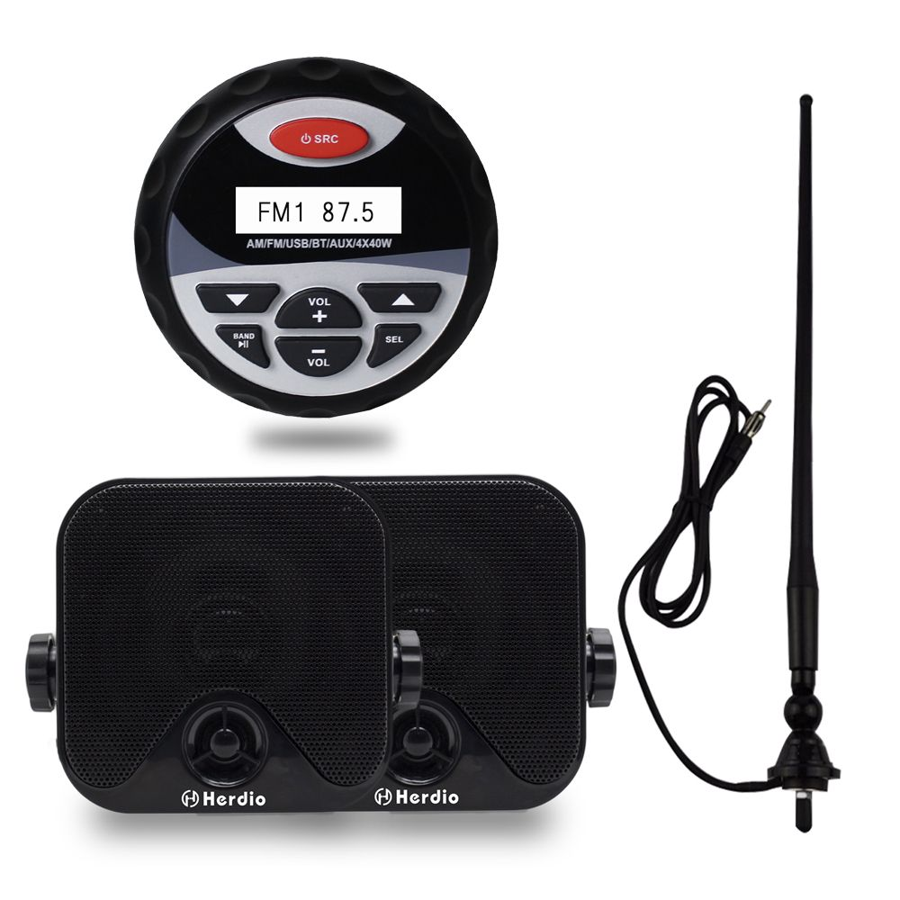 Waterproof Bluetooth Radio Stero Player Boat Audio Sound System FM AM Receiver +4 Inch Marine Speakers Motorcycle SPA+ Antenna