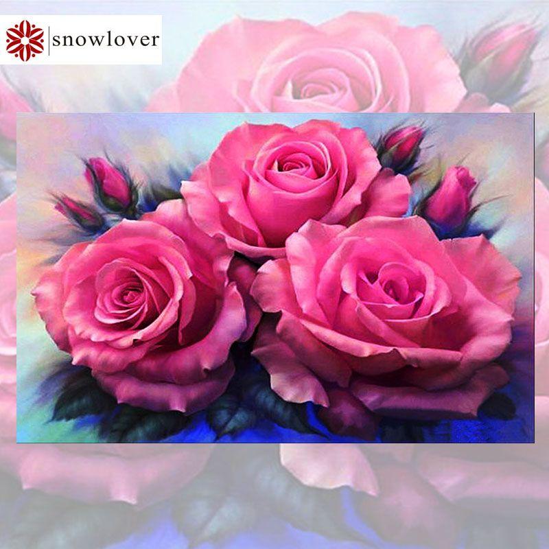 Snowlover, plein, bricolage broderie diamant, 5D, peinture diamant, point de croix, 3D, diamant, mosaïque, couture, trois rose, cadeaux de noël