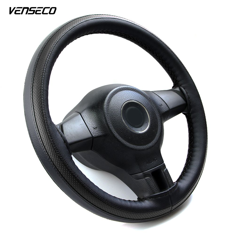 VENSECO sports breathable type steering wheel cover soft leather steering cover black & red style classic braid car wheel cover