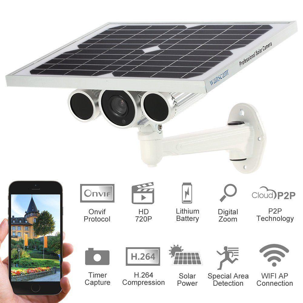 Wanscam 720 p visión nocturna energía solar cámara de vigilancia incorporado batería P2P ONVIF WiFi inalámbrico al aire libre energía solar cámara IP