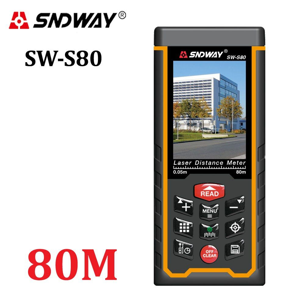 Laser distance meter Range finder outdoor 80m W-camera rechargeable battery Color LCD laser tape measure Area/volume/angle Tools