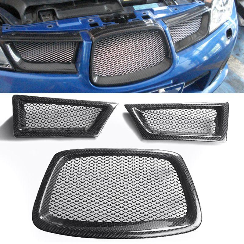 3pcs Carbon Fiber Frame Front Mesh Grill Grille For Subaru Impreza WRX STi 9th 2006-2007