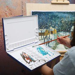 Supérieure Professionnel Hydratant Peinture Aquarelle Palette En Plastique Aquarelle Palette Pour Peinture Paleta Acuarela Art Supplie