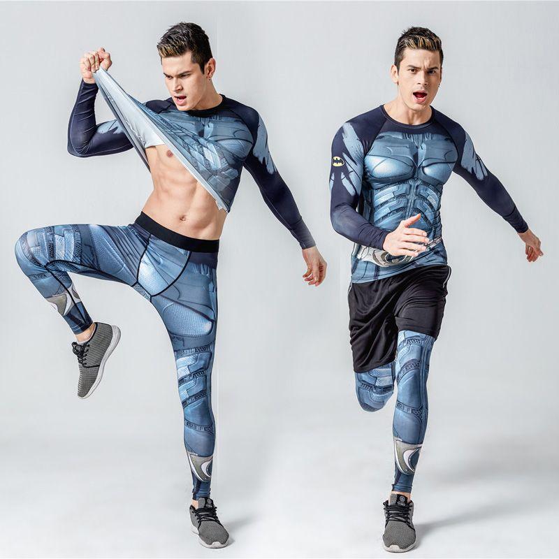 Crossfit Фитнес Комплект Длинные рукава футболка мужская + Колготки для мужчин термобелье rashgard комплект сжатия ММА