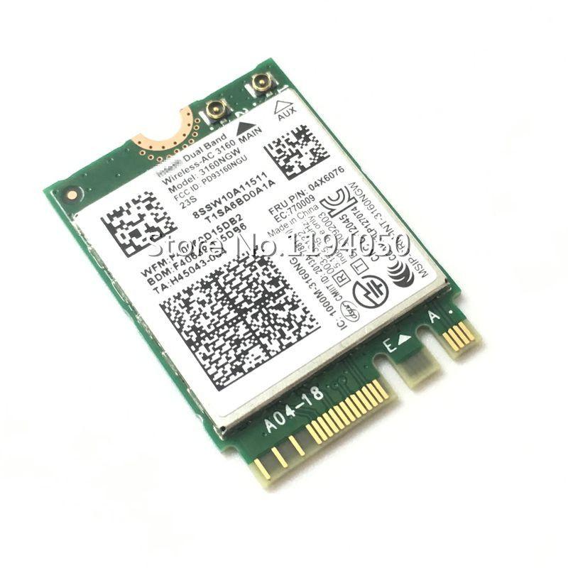 Intel Double Bande Sans Fil-AC 3160 3160NGW 04X6034 04X6076 pour Y40 Y50 E10-30 E455 E555 2.4 GHz/5,8 GHz wifi