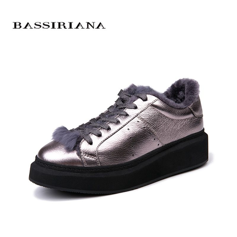 BASSIRIANA - 2018 New Winter Woman Shoes Plush Lady's Trend Cotton-padded Shoes Silver and Black Size 35-40 free shipping