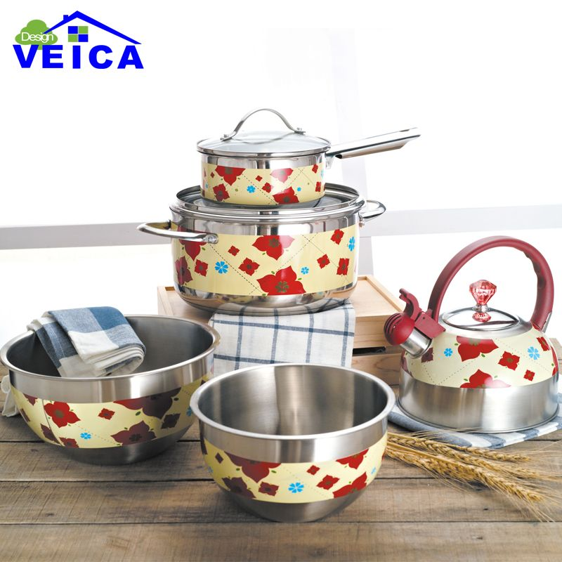 7pcs Red Color Stainless Steel Cookware Set Casserole+Milk Pot+kettle Kitchen Cooking Tools Free Shipping