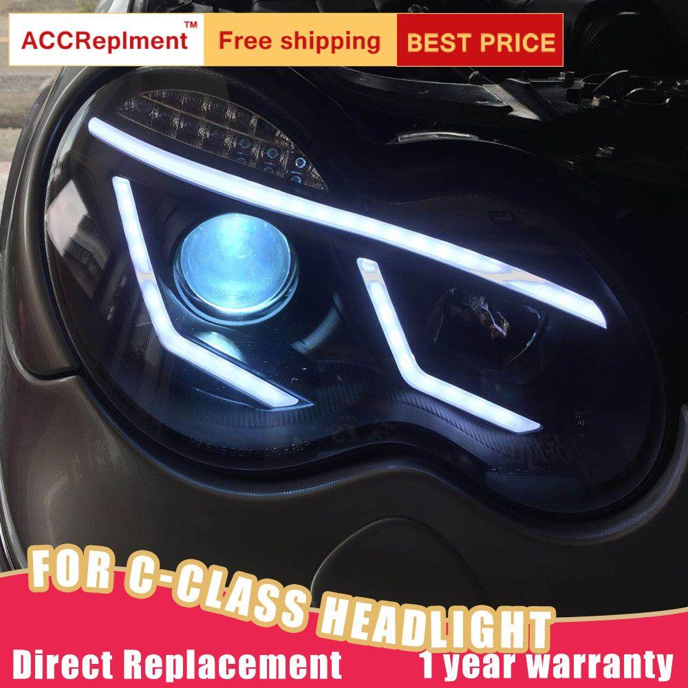 2Pcs LED Scheinwerfer Für Benz W203 C-Klasse 2001-2007 led auto lichter Engel augen xenon HID KIT Nebel lichter LED Tagfahrlicht