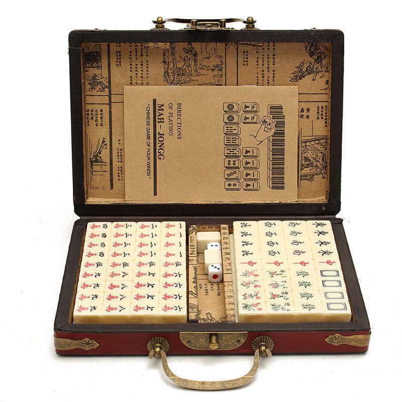 NEW Arrival 144 Tiles Mah-Jong Set Multi-color Portable Vintage Mahjong Rare Chinese Toy With Bamboo Box