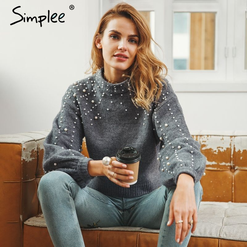 Simplee Pearl turtleneck <font><b>winter</b></font> knitted sweater Women lantern sleeve loose gray pullover female Soft warm autumn casual jumper